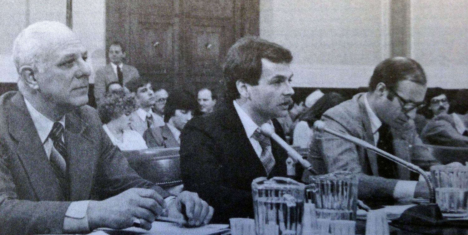 Then-BIPAC President Joseph J. Fanelli (left) testifies before the U.S. House Administration Committee about campaign finance law in March 1979.
